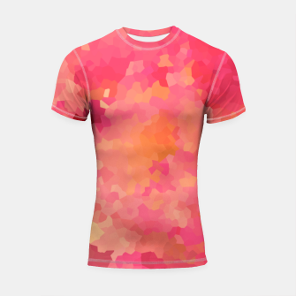 Thumbnail image of Hot fuchsia poly shape, mosaic abstract background, polygon geometry in bright colors Shortsleeve rashguard, Live Heroes
