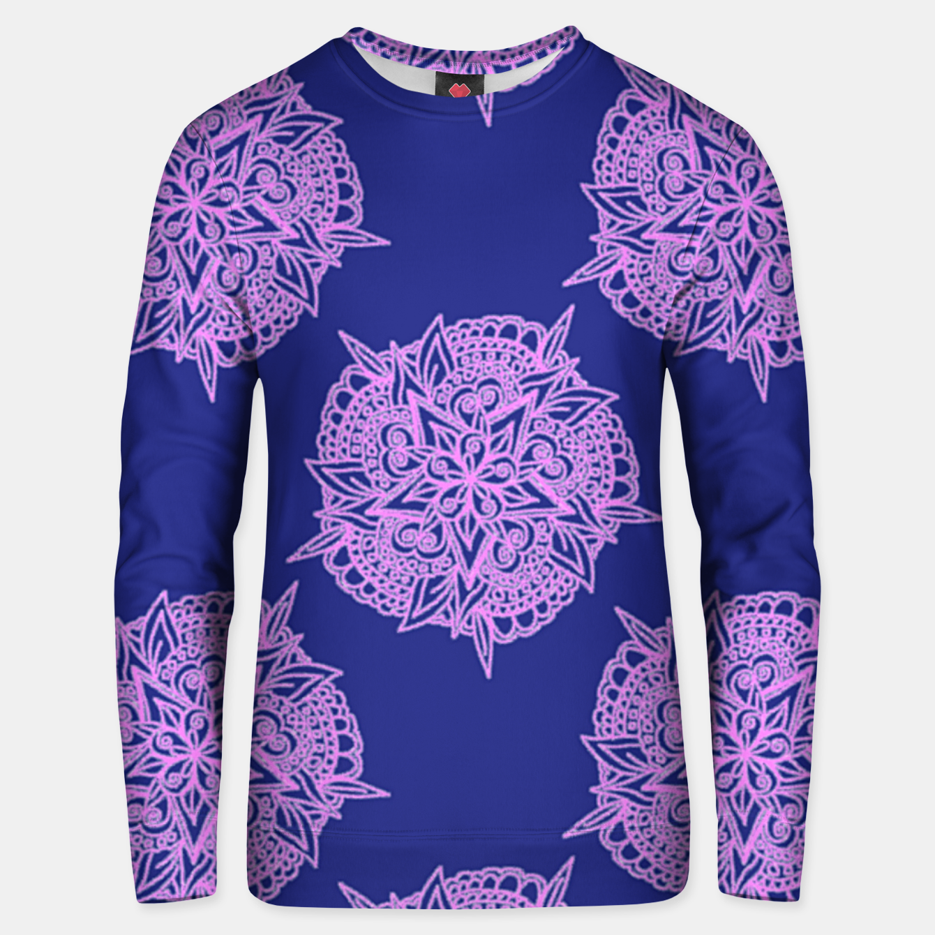 Image of Pink floral on blue Unisex sweater - Live Heroes