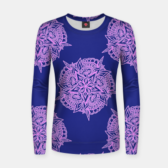 Miniatur Pink floral on blue Women sweater, Live Heroes