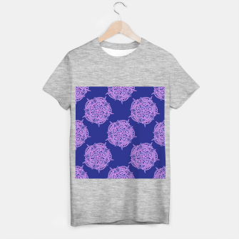 Thumbnail image of Pink floral on blue T-shirt regular, Live Heroes