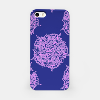 Pink floral on blue iPhone Case thumbnail image