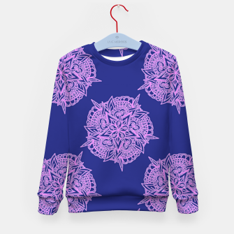 Thumbnail image of Pink floral on blue Kid's sweater, Live Heroes