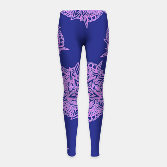 Thumbnail image of Pink floral on blue Girl's leggings, Live Heroes