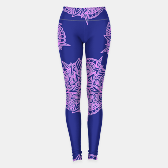 Thumbnail image of Pink floral on blue Leggings, Live Heroes