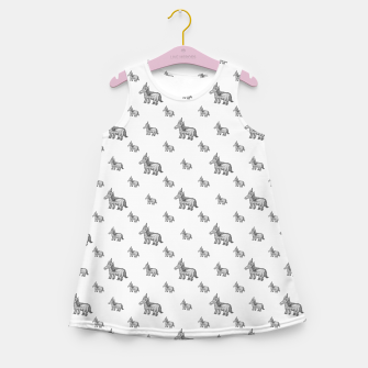 Thumbnail image of Unicorn Sketchy Style Motif Drawing Pattern Girl's summer dress, Live Heroes