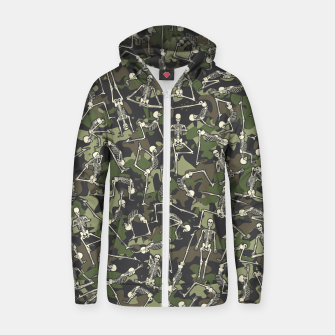 Thumbnail image of Yoga Skeleton Military Camo Camouflage Pattern Woodland Zip up hoodie, Live Heroes