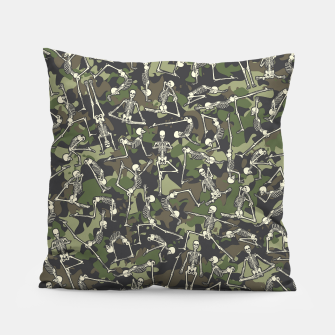 Miniatur Yoga Skeleton Military Camo Camouflage Pattern Woodland Pillow, Live Heroes
