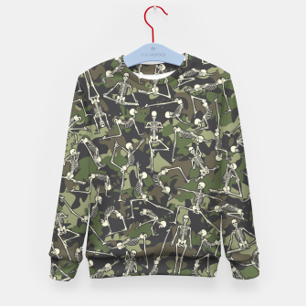 Thumbnail image of Yoga Skeleton Military Camo Camouflage Pattern Woodland Kid's sweater, Live Heroes