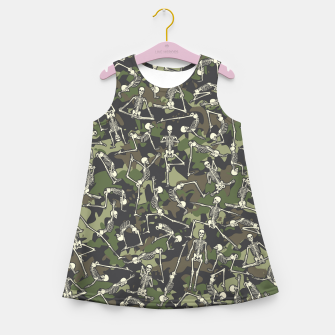 Thumbnail image of Yoga Skeleton Military Camo Camouflage Pattern Woodland Girl's summer dress, Live Heroes