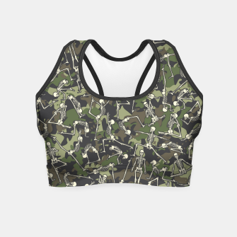 Thumbnail image of Yoga Skeleton Military Camo Camouflage Pattern Woodland Crop Top, Live Heroes