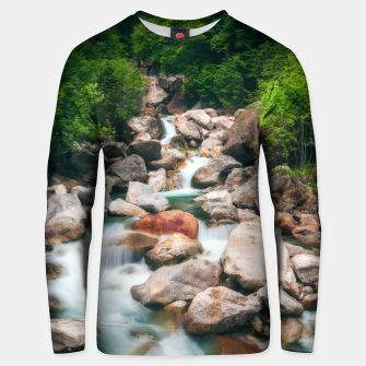 Thumbnail image of Beautiful cascading river in spring Unisex sweater, Live Heroes