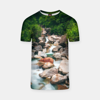 Miniaturka Beautiful cascading river in spring T-shirt, Live Heroes