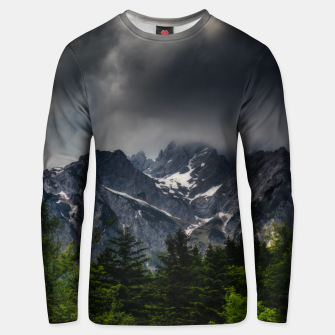 Thumbnail image of Stormy skies above mountains and spring forest Unisex sweater, Live Heroes