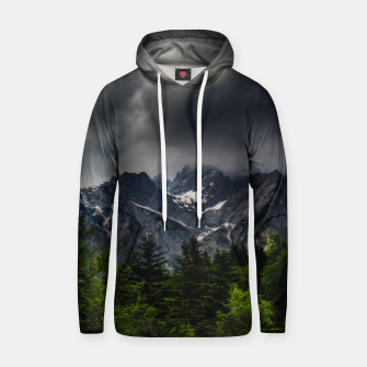 Imagen en miniatura de Stormy skies above mountains and spring forest Hoodie, Live Heroes