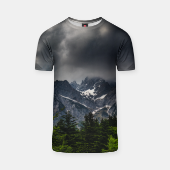 Miniaturka Stormy skies above mountains and spring forest T-shirt, Live Heroes