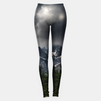 Miniatur Stormy skies above mountains and spring forest Leggings, Live Heroes