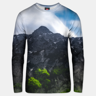Thumbnail image of Sun lit green forest beneath the mountains Unisex sweater, Live Heroes