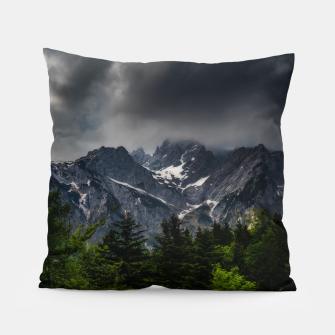 Miniaturka Stormy skies above mountains and spring forest Pillow, Live Heroes