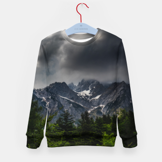 Imagen en miniatura de Stormy skies above mountains and spring forest Kid's sweater, Live Heroes
