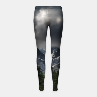 Thumbnail image of Stormy skies above mountains and spring forest Girl's leggings, Live Heroes