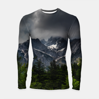 Imagen en miniatura de Stormy skies above mountains and spring forest Longsleeve rashguard , Live Heroes