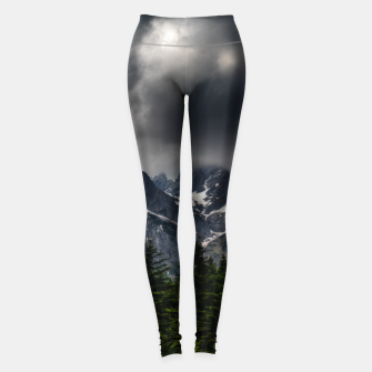 Imagen en miniatura de Stormy skies above mountains and spring forest Leggings, Live Heroes