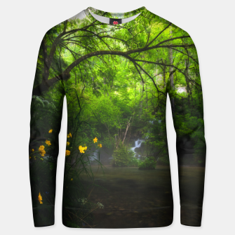 Miniature de image de Magical forest with yellow flowers and waterfall Unisex sweater, Live Heroes