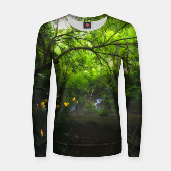 Imagen en miniatura de Magical forest with yellow flowers and waterfall Women sweater, Live Heroes