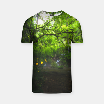 Miniaturka Magical forest with yellow flowers and waterfall T-shirt, Live Heroes