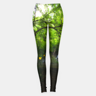 Miniatur Magical forest with yellow flowers and waterfall Leggings, Live Heroes