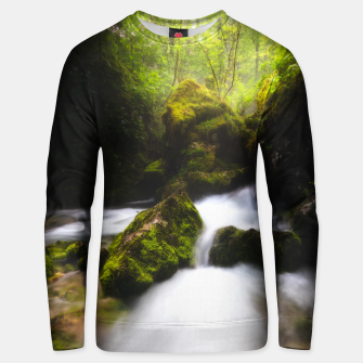 Thumbnail image of Water flowing through enchanted mossy forest Unisex sweater, Live Heroes