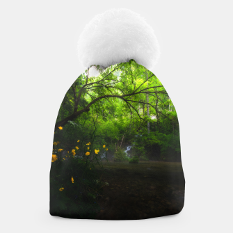 Miniature de image de Magical forest with yellow flowers and waterfall Beanie, Live Heroes
