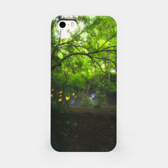 Imagen en miniatura de Magical forest with yellow flowers and waterfall iPhone Case, Live Heroes