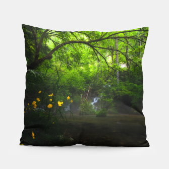 Miniature de image de Magical forest with yellow flowers and waterfall Pillow, Live Heroes