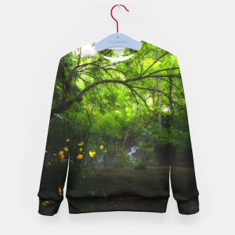 Imagen en miniatura de Magical forest with yellow flowers and waterfall Kid's sweater, Live Heroes