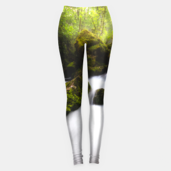 Miniatur Water flowing through enchanted mossy forest Leggings, Live Heroes