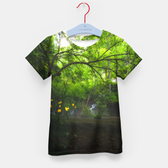 Miniatur Magical forest with yellow flowers and waterfall Kid's t-shirt, Live Heroes