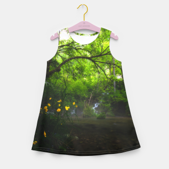 Thumbnail image of Magical forest with yellow flowers and waterfall Girl's summer dress, Live Heroes