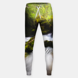 Miniaturka Water flowing through enchanted mossy forest Sweatpants, Live Heroes