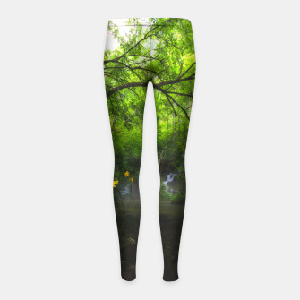 Miniature de image de Magical forest with yellow flowers and waterfall Girl's leggings, Live Heroes