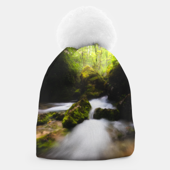 Thumbnail image of Water flowing through enchanted mossy forest Beanie, Live Heroes