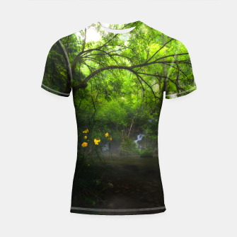 Imagen en miniatura de Magical forest with yellow flowers and waterfall Shortsleeve rashguard, Live Heroes