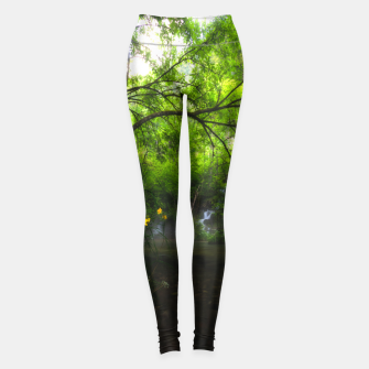 Imagen en miniatura de Magical forest with yellow flowers and waterfall Leggings, Live Heroes
