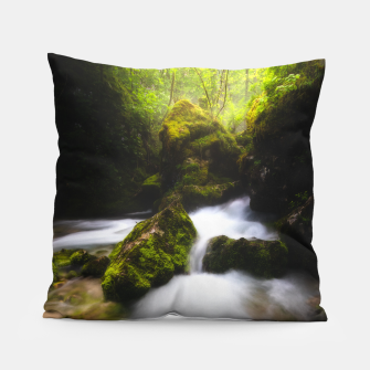 Thumbnail image of Water flowing through enchanted mossy forest Pillow, Live Heroes