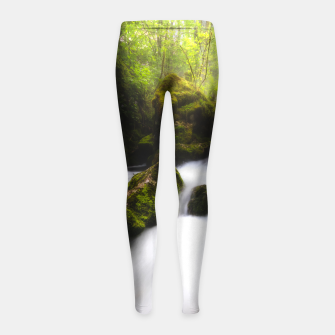 Thumbnail image of Water flowing through enchanted mossy forest Girl's leggings, Live Heroes