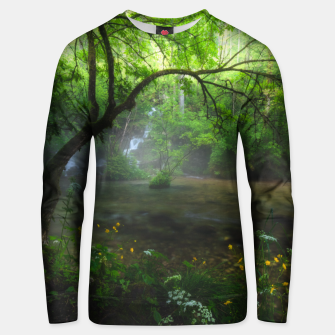Thumbnail image of Enchanted forest and waterfall Unisex sweater, Live Heroes