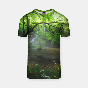 Miniaturka Enchanted forest and waterfall T-shirt, Live Heroes