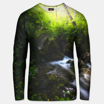 Thumbnail image of Spring flowers in enchanted river forest Unisex sweater, Live Heroes