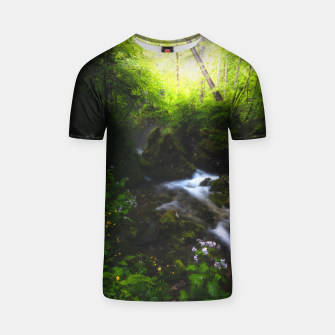 Miniaturka Spring flowers in enchanted river forest T-shirt, Live Heroes