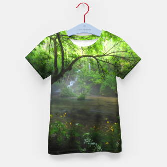 Miniatur Enchanted forest and waterfall Kid's t-shirt, Live Heroes